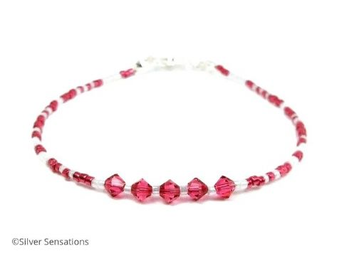 Bright Pink & White Seed Bead Stacking Bracelet With Swarovski Crystals